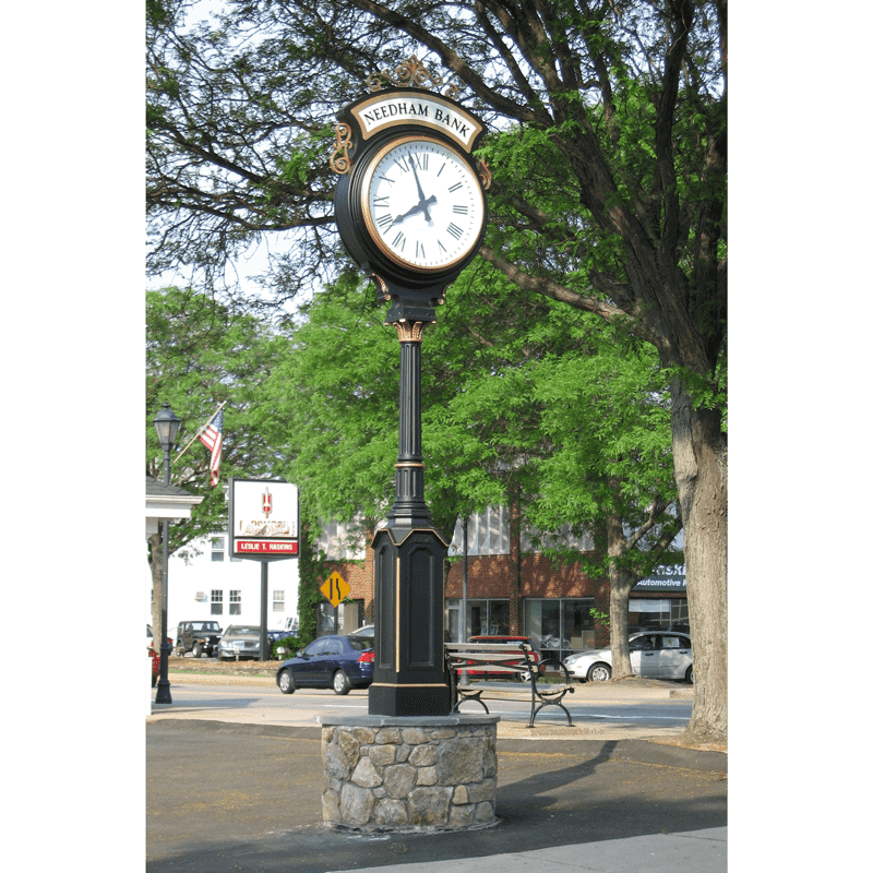 Large Two Dial Howard Street Clock Illuminated Header Wellesley MA