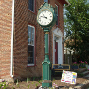 Small Two Dial Howard Post Clock - Greens Fork, IN