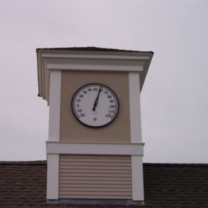 Silhouette Tower Clock Thermometer Style 1140 Background Mounted Orleans MA