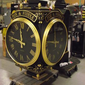 Street Clock with black dials and gold leafed dial markings