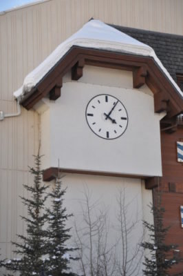 Silhouette Tower Clock Style 1184 Background Mounted Vail CO