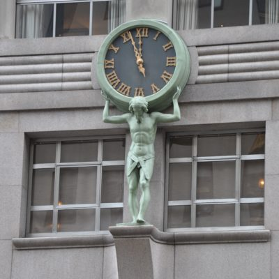 Tiffany Main Store Custom Canister Clock and Statue