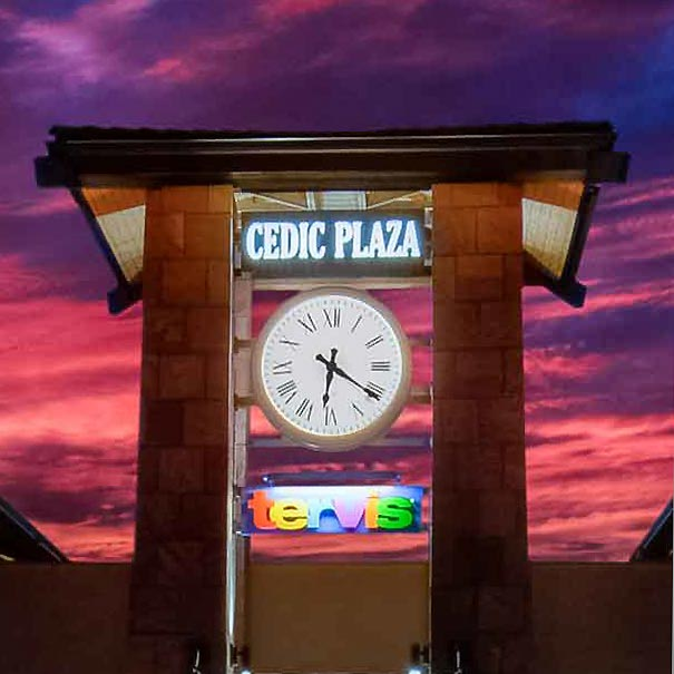 Illuminated Tower Clock with a Arizona Sunset