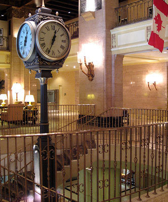 Large Four Dial Howard Post Clock indoors Royal York Hotel Toronto