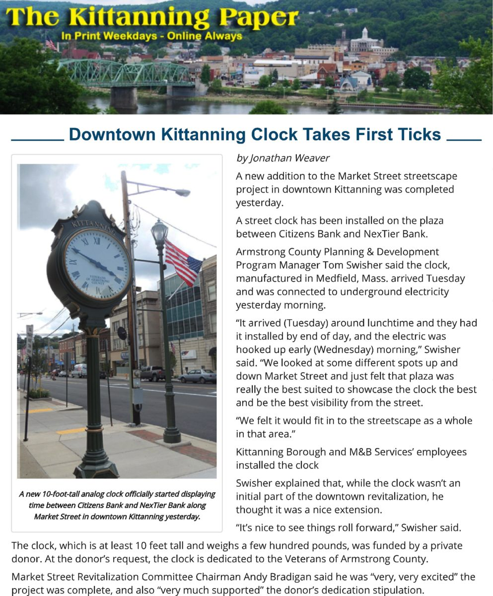 Article on the Kittanning Post Clock