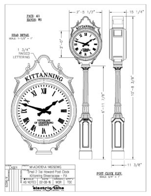 Kittanning Post Clock Rendering