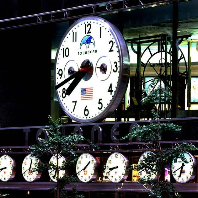 Monumental Clock with complications installed at the Tourneau Time Machine