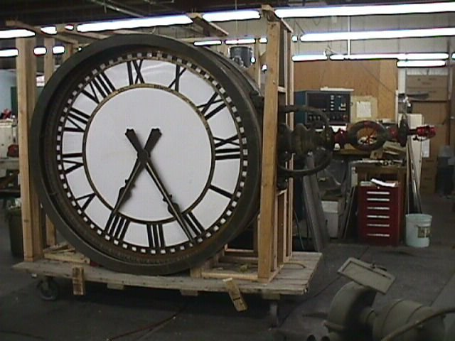 Double-sided clock in our shop before restoration